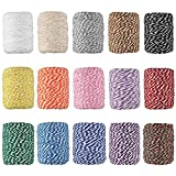 HULISEN Colourful Bakers Twine, 15 Rolls 2mm Cotton String for Artworks, DIY Crafts, Plant Hanger and Embellishments, Gift Wrapping Twine