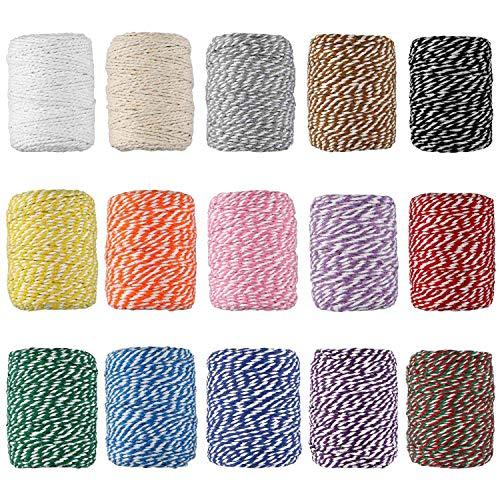 HULISEN 2460 Pies 2 mm Coloridos panaderos Twine, 15 Roll Cotton Twine, Cuerda de embalaje para etiquetas, Hornear, Jardinería, Carniceros, Manualidades bricolaje, Envoltura de regalos (Vistoso 2)