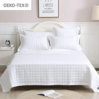 King Bed Quit White 1 Piece, 100% Cotton Oversized Sateen Weave Reversible Bedspread Coverlet Set for Home and Hotel