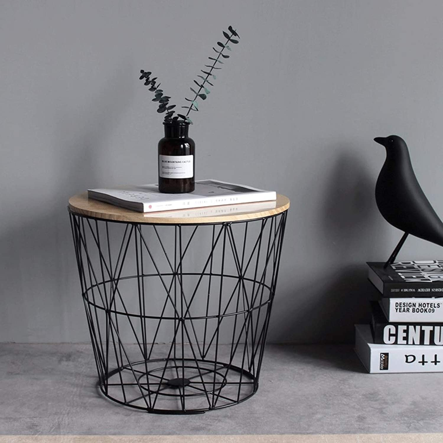 Nordic Wrought Iron Side Table Small Coffee Table Solid Wood Small Round Table Bedside Table Corner Multi-Function Storage Basket Basket Storage Basket A+ (color   Black, Size   35CM)