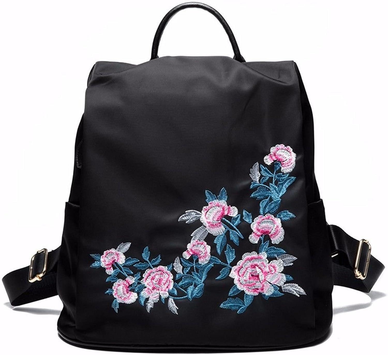 Crystallly Rücksack Teenager Erwachsene Daypacks Vintage Casual Backpack Stylisch Bestickte Einfacher Stil Oxford Tuch Wasserdichter Rucksack (Farbe   schwarz C, Größe   One Größe)