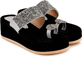 Afeefa women's embellished velvet grey wedges sandal