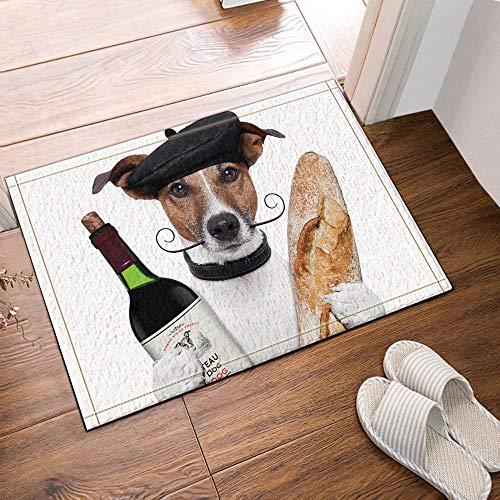 ottbrn Hond met wijn en brood badmat antislip vloeringangen Outdoor Indoor huisdeurmat, 15,7x23,6 inch badmat badmat