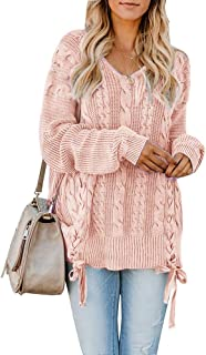 c8af780529 Womens Pullover Sweaters Plus Size Cable Knit V Neck Lace Up Long Sleeve  Fall Jumper Tops
