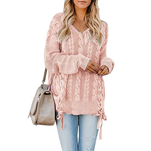 93535c6be5 Womens Pullover Sweaters Plus Size Cable Knit V Neck Lace Up Long Sleeve  Fall Jumper Tops