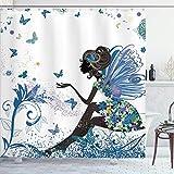 N \ A Fashion Duschvorhang, Feen-Mädchen mit Flügeln in einem Blumenkleid, Fantasy-Garten, fliegende Schmetterlinge, Stoffstoff, Badezimmer-Dekor-Set mit Haken, 152,4 x 182,9 cm, Rosa / Weiß