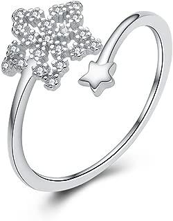 NIDA New York - 925 Sterling Silver 2 Lucky Stars Ring Hollow Zircon Ring
