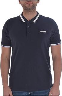 Lambretta Mens Single Tipped Collar Cotton Polo Shirt - Navy - XL