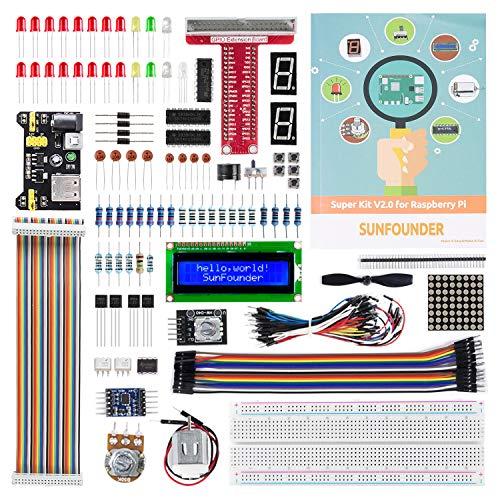 SunFounder Raspberry Pi 4 Model B Starter Kit Project Super Kit for RPi 400 4B 3B+ 3B 2B B+ A+ Zero Including GPIO Breakout Board Breadboard LCD DC Motor LED RGB Dot Matrix 73 Page Manual User Guide