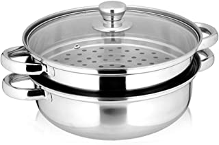 Yamde 2 Piece Stainless Steel Stack and Steam Pot Set – and Lid,Steamer Saucepot double boiler