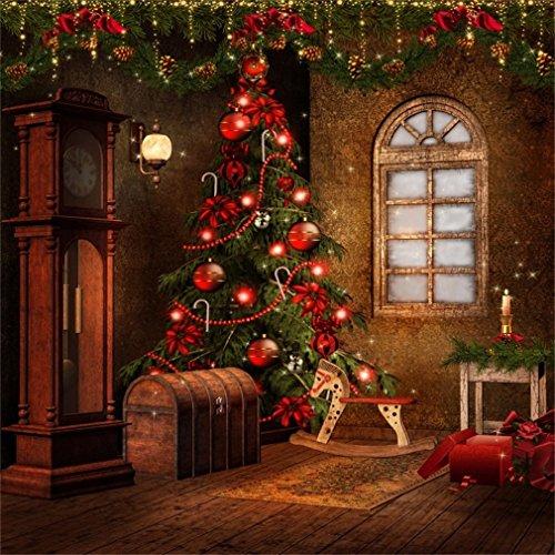 YongFoto 3x3m foto achtergrond kerstboom rode ballen houten doos venster oude klok hobbyhorse lantaarn binnenruimte Vrolijk jaar fotografie achtergrond foto kinderen bruiloft fotostudio