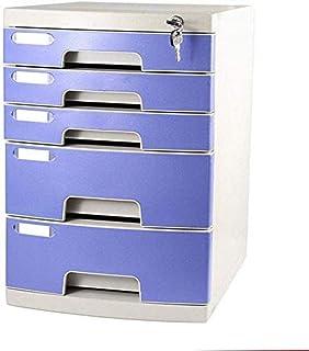 Armoires de classement verrouillable 5 tiroirs avec serrure de bureau Boîte de rangement de fichiers 29,5 x 39,4 x 43 cm bleu