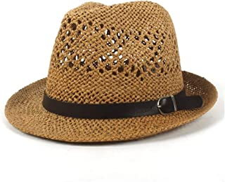 Leather Sun Hat Summer Lady Panama Hat Men's Hat Beach Sun Hat Cool Jazz Hat Belt` TuanTuan (Color : Coffee, Size : 56-58CM)