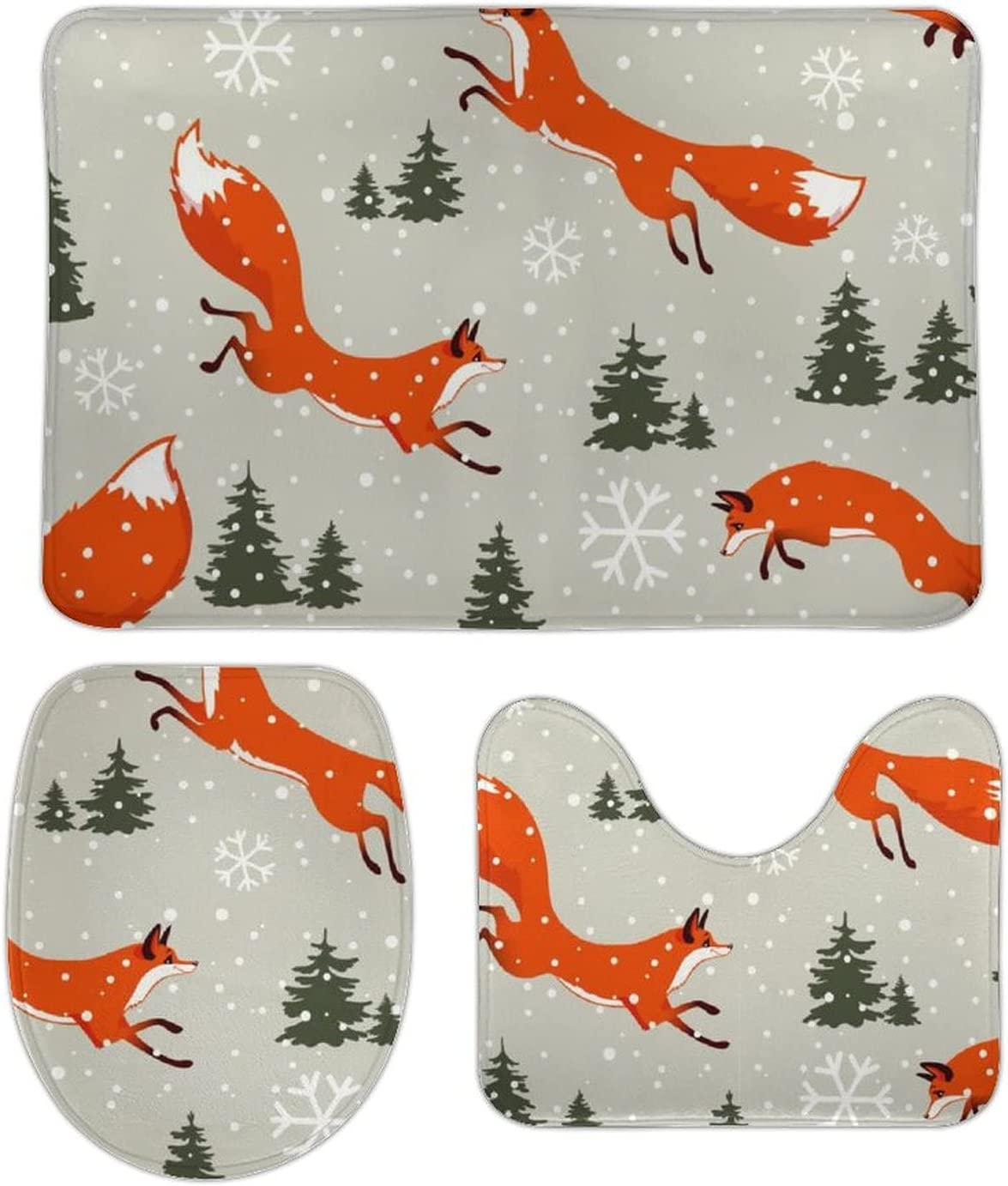 Finally resale start Cute Fox Xmas Tree online shop Snowflake Colorful Bathroom R Forest Pieces 3