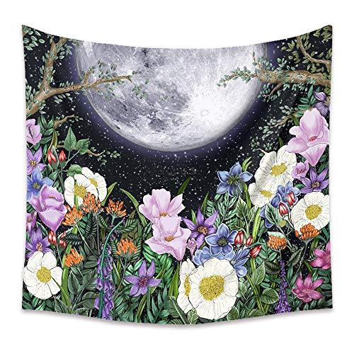 DPZDW Wall Hanging Deko Wand Big Moon Flower Tapisserie Für Kinderzimmer Wohnzimmer Schlafzimmer Auch Als Yogamatte Picknickdecke Strandtücher 150X130Cm