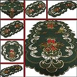 Runner centrotavola, verde Scuro, Tovaglia rossa, con candele ricamate, motivo: Natale, diverse Misure, Poliestere, verde, 35 cm x 70 cm