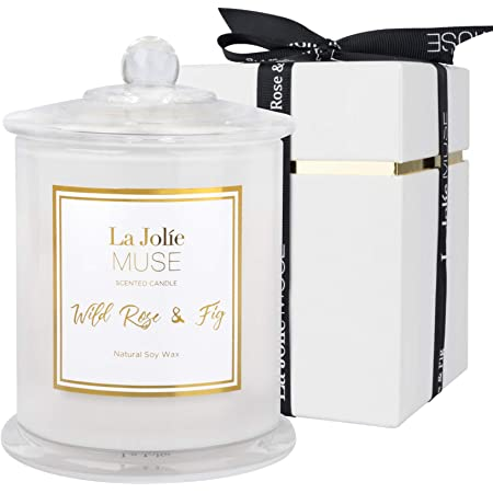 LA JOLIE MUSE アロマキャンドル ローズ&イチジクの香り 65時間 ジャーキャンドル プレゼント ソイワックス