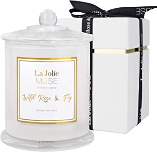 LA JOLIE MUSE Wild Rose & Fig Scented Candle, Natural Soy Candle for Home, 65 Hours Long Burning, White Glass Jar, Home Gift