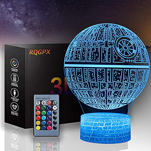 Luz nocturna de ilusión 3D, lámpara de estrella de la muerte con control remoto y toque inteligente+16 colores cambiantes regulables, regalos Brithday para niños y niñas