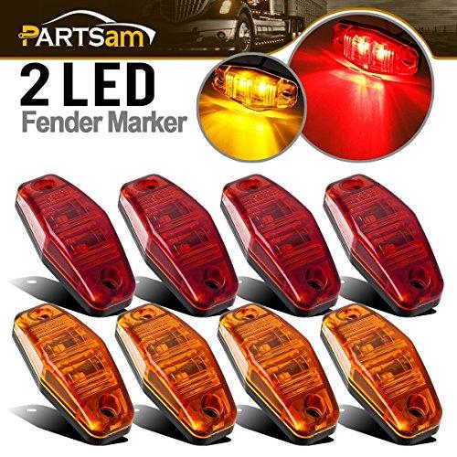 Partsam Universal Red/Amber Surface Mount LED Side Fender Marker Lights, Sealed Mini LED Side Marker Clearance Identification Lights, 2 Wire, 2 Diodes, 2.54 x 1.06 (Pack of 8)