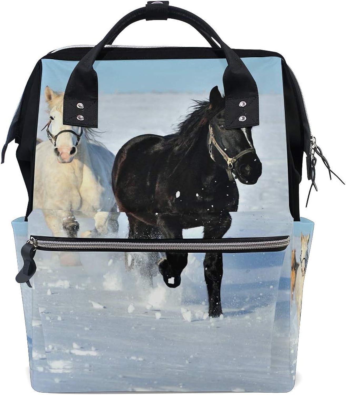 FANTAZIO Backpacks Horse Running On Clean Snow School Bag Canvas Daypack