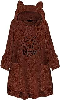 Winter Warm Comfy Women Fleece Embroidery Cat Ear Hoodie Plus Size Pocket Top Sweater Blouse
