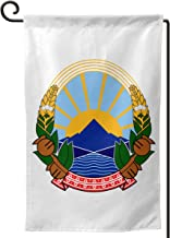 X-JUSEN Coat of Arms of Former Yugoslav Republic of Macedonia National Emblem Personalized Garden Flag, Outdoor Yard Decor, Vertical Double Sided House Flags - 12.5 X 18 Inch, Decorative Use