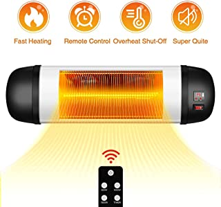 Outdoor Patio Heater- 1500W Garage Heater Infrared Heater w/Remote, 24H Timer Auto Shut Off Outdoor Heater,Super Quiet 3s Instant Warm Wall Heater, Space Heater for Patio, Sunroom, Backyard, Office