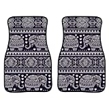 Product Image of the INSTANTARTS 2 Piece African Mandala Elephant Printed Car Floor Mats,Universal Fit Vehicle Floor Mats for Most Cars