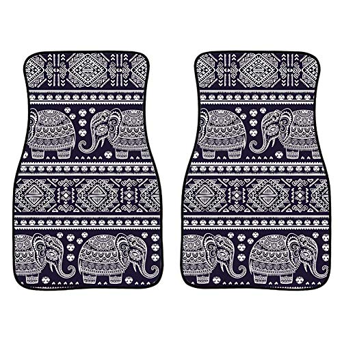 INSTANTARTS 2 Piece African Mandala Elephant Printed Car Floor Mats,Universal Fit Vehicle Floor Mats for Most Cars