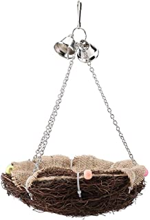 HEEPDD Rattan Birds Nest Toys, Parrot Hanging Swing Nest with Bells Bird Cage Accessories for Cockatoo Macaw Amazon African Grey Budgie Parakeet Cockatiel Lovebird Finch