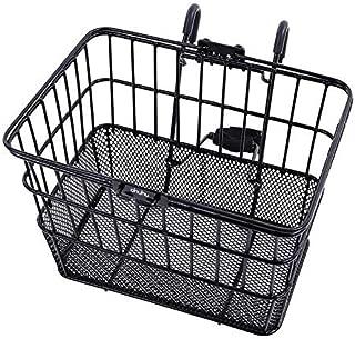 Ohuhu Bike Basket Rust-Proof Quick Release Front Handlebar Bicycle Lift Off Baskets with Holder, Mesh Bottom (Renewed)