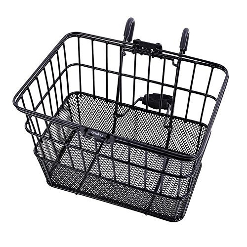 Ohuhu Rust-Proof Quick Release Front Handlebar Bicycle Lift Off Basket/Wire Mesh Bike Basket with Holder, Mesh Bottom