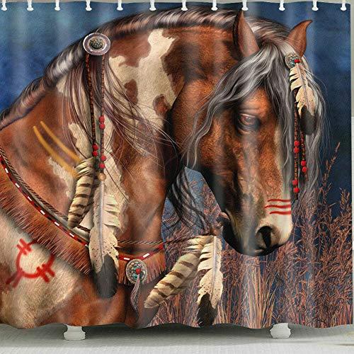 zhanghui2018 Indian Horse Head Duschvorhang für Duschvorhang zu Hause & im Bad strapazierfähiges Stoffzubehör kreativ mit 12 Haken 180X180CM