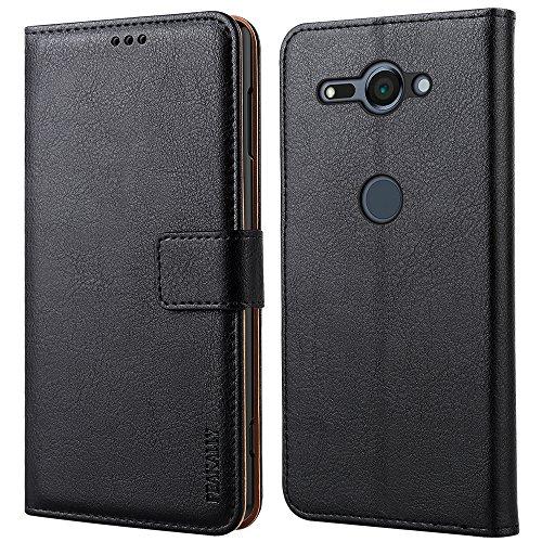Peakally Sony Xperia XZ2 Compact Hülle, Premium Leder Tasche Flip Wallet Hülle [Standfunktion] [Kartenfächern] PU-Leder Schutzhülle Brieftasche Handyhülle für Sony Xperia XZ2 Compact 5.0