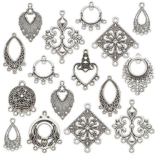 PandaHall Juego de 50 colgantes para arete de araña de plata envejecida para hacer joyas y pendientes