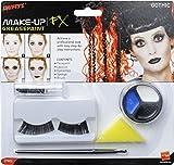 Smiffy'S 37802 Set De Maquillaje Gótico, Incluye Pintura Para La Cara, Pintalabios Y Pestañas, Blanco