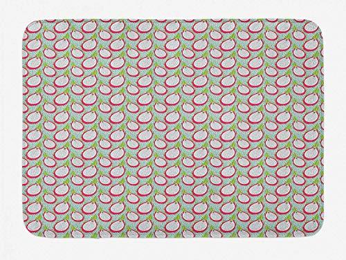 utong Exotische Badematte Kontinuierliches Muster von tropischen Pitaya-Früchten mit Samen Plüsch Badezimmer Dekor Matte mit rutschfesten Rücken Mehrfarbig