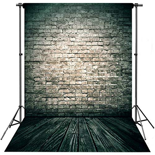 econious 5x7ft Retro Brick Wall Wood Floor Backdrops for Photography, Studio Props Photography Backdrop,Resistant Fleece-Like Cloth Fabric, with Rod Pocket (Backdrop Only)
