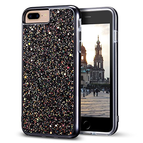 iPhone 8 Plus Case, iPhone 7 Plus Case, MIRACASE Bling Sparkle Dual Layer Shockproof Hard PC Cover Soft TPU Inner Glitter Case for iPhone 7 Plus/8 Plus/6 Plus/6S Plus (5.5'), Black
