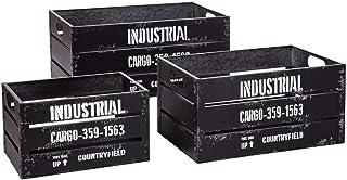 Atmosphera - Lot de 3 Caisses de Rangement Cagettes en Métal Noir rétro Industrial