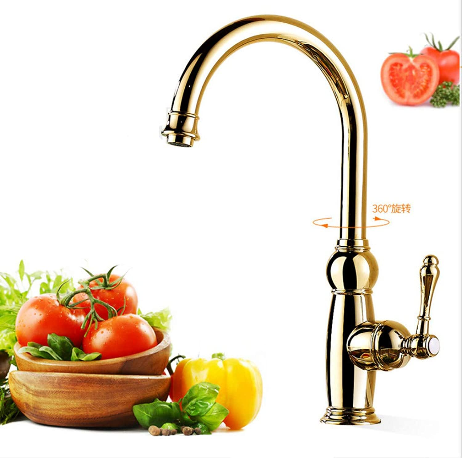JONTON golden kitchen sink hot and cold faucet copper thickening can be redated European antique sink sink faucet