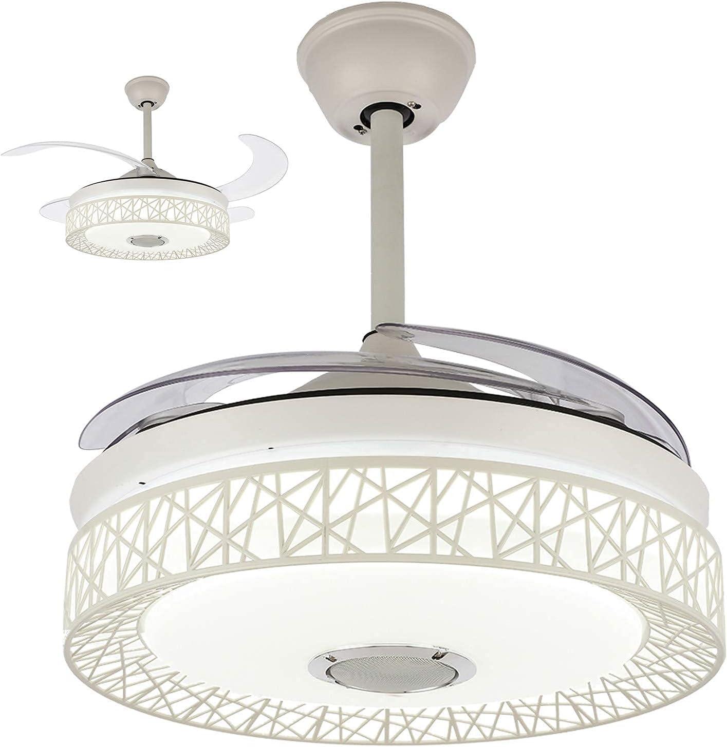 CAIMEI Lámpara Colgante de Luz Colgante Ventilador de Techo Led de 42 Pulgadas con Luces con Control Remoto 3 Velocidades de Ventilador, 4 Aspas Invisibles, Altavoz (Negro),Blanco