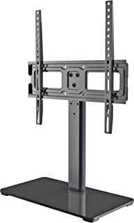 Universal TV Stand - Table Top TV Stand Fits Most 32-50 Inch LED, LCD TVs up to VESA 400 x 400mm 77 LBS Loading- 3 Height Adjustable with Solid Tempered Glass Base & Wire Management by EVERVIEW