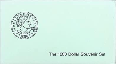 1980 P D S Susan B Anthony Dollar Souvenir Set 3 Coins Green Envelope US Mint Brilliant Uncirculated