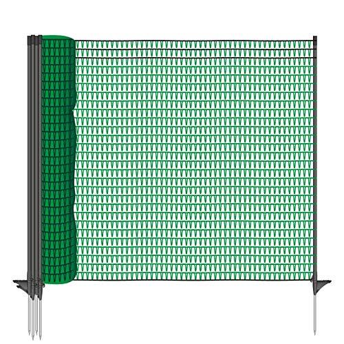VOSS.farming Gartennetz Universal Begrenzungszaun Classic 20 m Premium, 80 cm, 12 Pfähle, dunkelgrün, Beetschutz