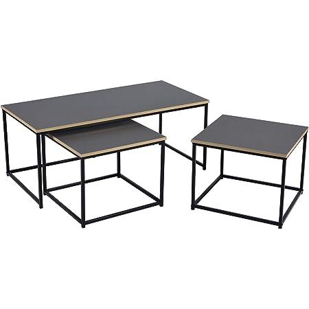 FurnitureR Mesa de centro nido moderna, juego de 3 mesas auxiliares para sala de estar, mesas auxiliares apilables, mesitas de noche resistentes y de fácil montaje, muebles decorativos con aspecto de madera y marco de metal 110*55*45 cm