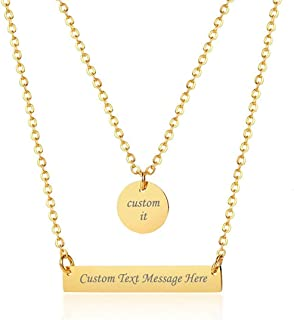 XUANPAI Personalized Custom Engraved Stainless Steel Bar Multi Layered Choker Y Necklace for Women Lady