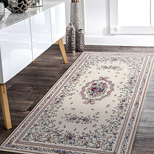 Taleta Aegean Tappeto orientale Aubusson con motivo floreale, medaglione per soggiorno, beige, 80 x 150 cm
