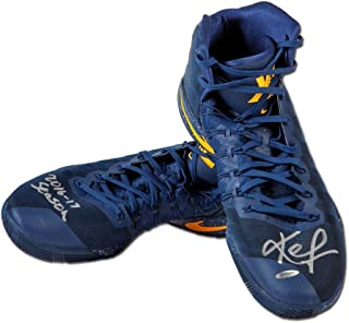Kevin Love Autographed & Inscribed 2016-17 Nike Hyperdunk Navy/Yellow Swoosh Game-Worn Shoes, L-1